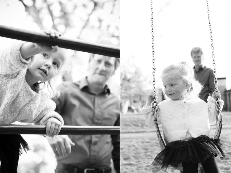 black and white family photographs on playground