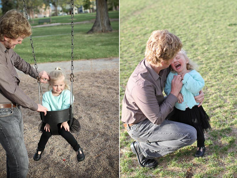 photographs of dad and kid at park in Denver